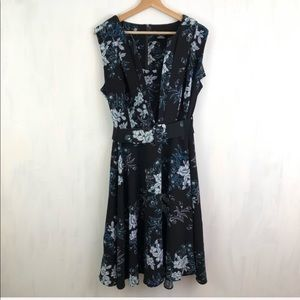 City Chic Black Floral Electric Belted Dress